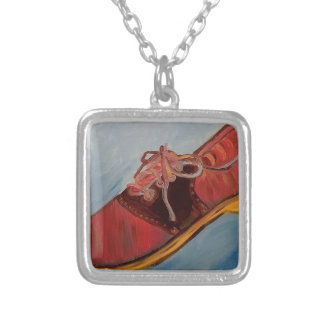 Saddle Shoe Silver Plated Necklace