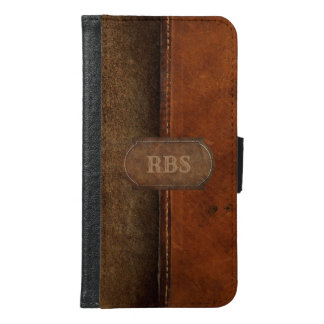Saddle Up Faux Tanned Stitched Leather Monogram Samsung Galaxy S6 Wallet Case