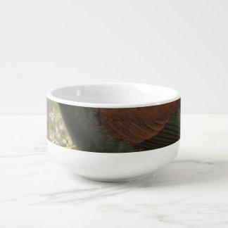 Saddleback and Jack Bird Semi-Abstract Soup Bowl With Handle