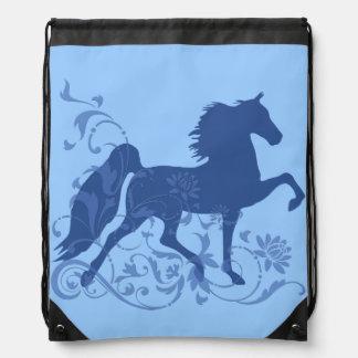 Saddlebred Five Gait Floral Blue Drawstring Bag
