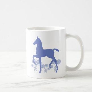 Saddlebred Foal Flowers in blue Coffee Mug