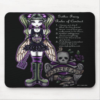 """Sadie"" Gothic Fairy Rules of Conduct Mousepad"