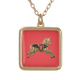 Sadie Spotted Horse Square Pendant Necklace