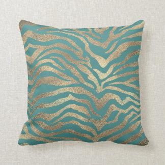Safari African Gold Glam Zebra Animal Skin Teal Cushion