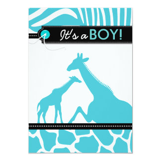 Safari animal baby boy shower card
