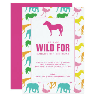 Safari Animal Girl Birthday Party Invitation