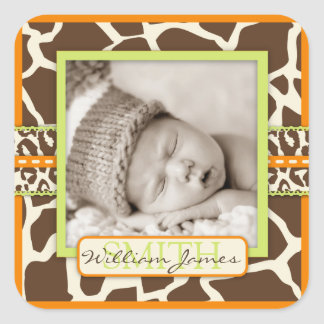 Safari Animal Print Birth Announcement Square Sticker