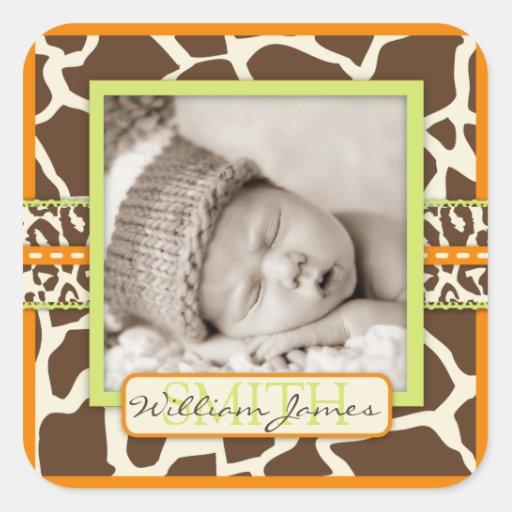 Safari Animal Print Birth Announcement Square Sticker
