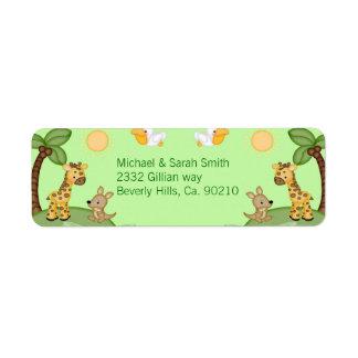 Safari Animals Cheetah Print Baby Shower Return Address Label