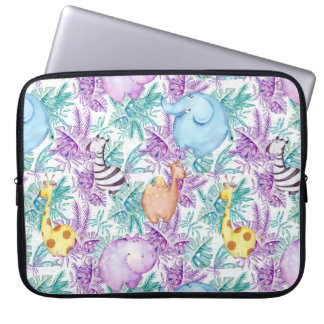 Safari Animals Hippo Giraffe Zebra Elephant Sleeve