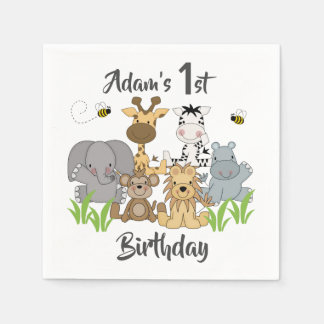 Safari Animals Kids Birthday Baby Shower Party Disposable Napkin
