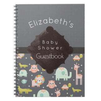 Safari Animals Pattern Baby Shower Guestbook Notebook