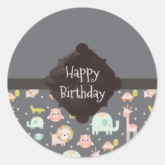 Safari Animals Pattern Nursery Art Happy Birthday Round Sticker