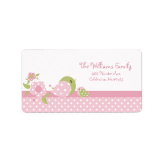 Safari Babiez Birdie Address Label Pink