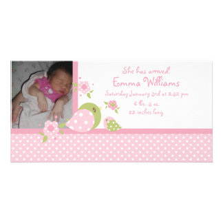 Safari Babiez Birdie Photo Birth Announcement Customized Photo Card