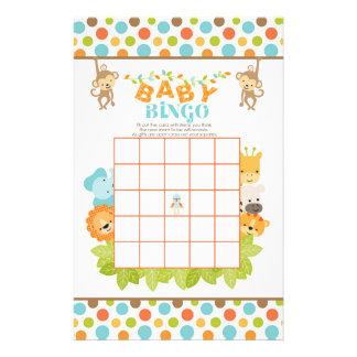 Safari Baby Bingo Game with Animals Customized Stationery