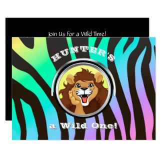 Safari Birthday Zoo Wild One Jungle Lion Zebra Card