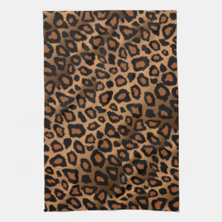 Safari Brown Leopard Animal Print Tea Towel