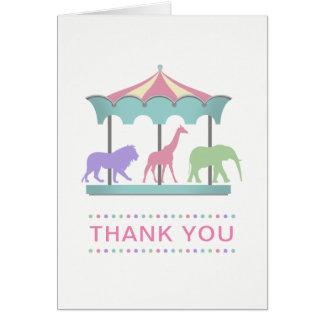 Safari Carousel Birthday Thank You Card