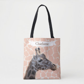 Safari Cute Giraffe & Name Tote Bag