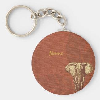 Safari Elephant Basic Round Button Key Ring