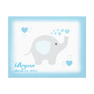 Safari Elephant Blue Grey Gray Baby Boy Nursery Canvas Print