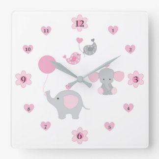 Safari Elephant Pink Grey Grey Baby Girl Nursery Square Wall Clock