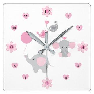 Safari Elephant Pink Grey Grey Baby Girl Nursery Wallclocks