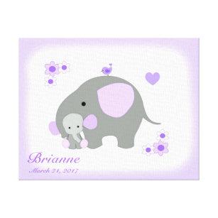 Safari Elephant Purple Grey Girl Nursery Wall Art