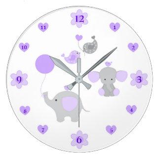 Safari Elephant Purple Grey Grey Baby Girl Nursery Large Clock