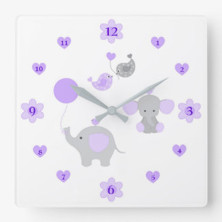 Safari Elephant Purple Grey Grey Baby Girl Nursery Square Wall Clock