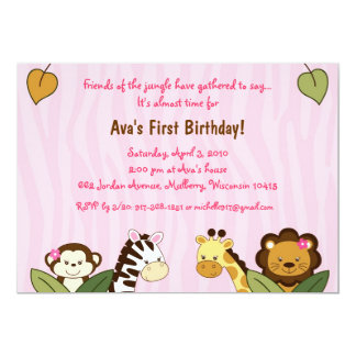 "Safari Friends Girl Jungle Birthday Invitations 5"" X 7"" Invitation Card"