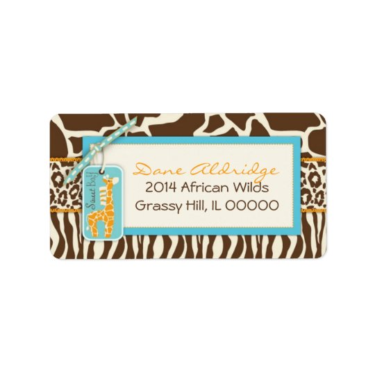Safari Giraffe Address Label