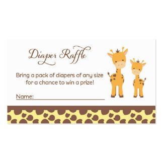 Safari Giraffe Baby Shower Diaper Raffle Tickets Pack Of Standard Business Cards