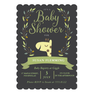 Safari Giraffe Baby Shower Invitation