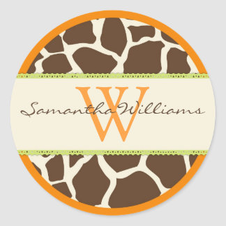 Safari Giraffe Print Classic Round Sticker