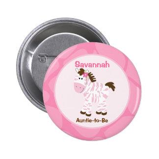 Safari Girl Customized Name Tag Pink Zebra Pinback Buttons
