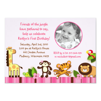 "Safari Girl Jungle Animal Birthday Invitations 5"" X 7"" Invitation Card"