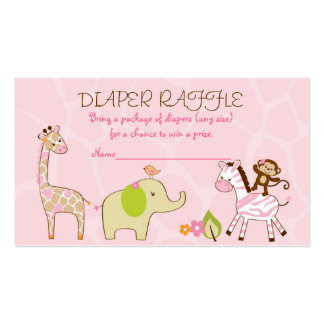 Safari Girl Jungle Animal Diaper Raffle Tickets Pack Of Standard Business Cards
