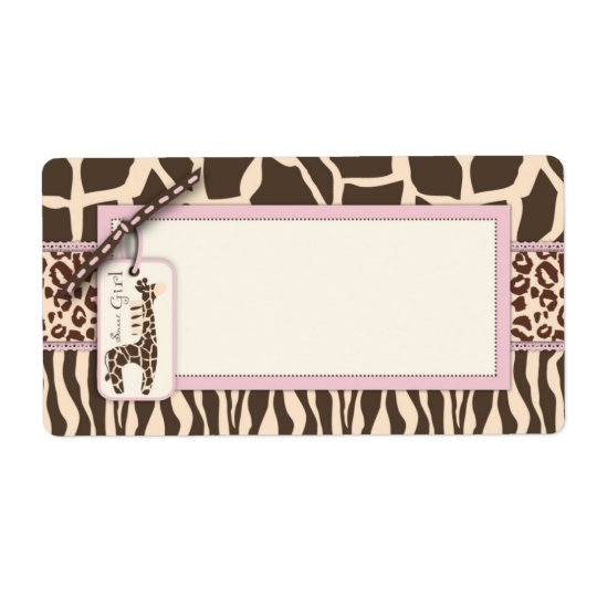Safari Girl Name Tag Shipping Label