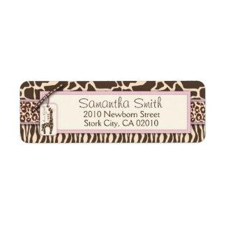 Safari Girl Return Label Return Address Label