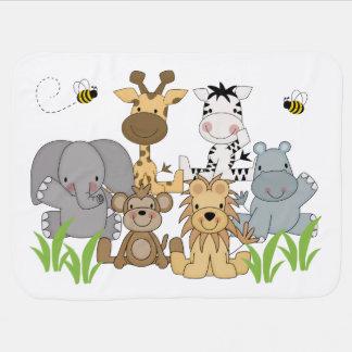 Safari Jungle Animal Baby Birth Stats Announcement Baby Blanket
