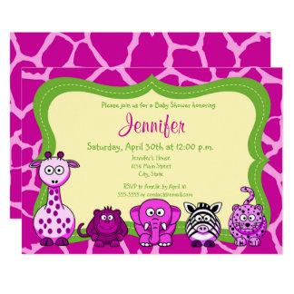 Safari jungle animal girl baby shower card
