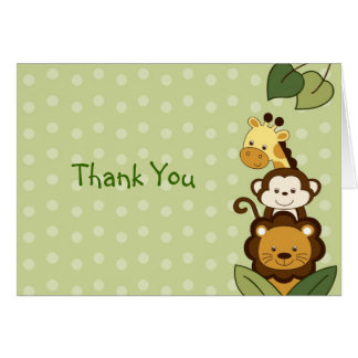 Safari Jungle Animal Thank You Note Cards
