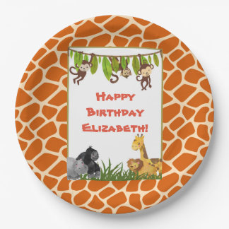 Safari Jungle Animal Theme Happy Birthday 9 Inch Paper Plate