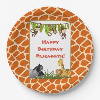 Safari Jungle Animal Theme Happy Birthday Paper Plate