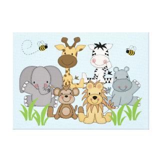 Safari Jungle Animals Baby Nursery Kids Room Wall Canvas Print