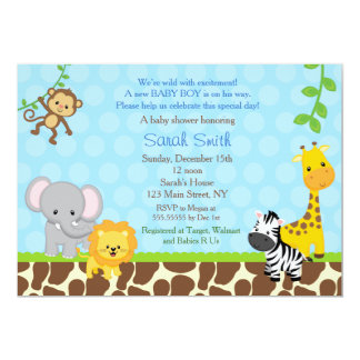 Safari Jungle Animals Baby Shower Invitations Boys