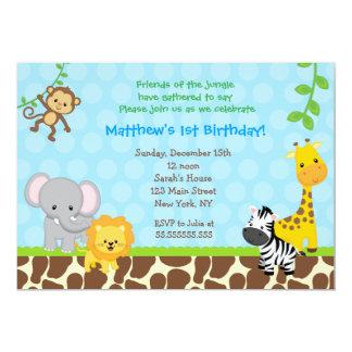 Safari Jungle Animals Birthday Party Invitations
