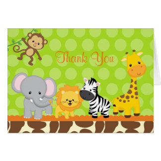 Safari Jungle Animals Folded Thank You Note Cards